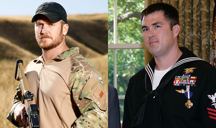 Chris Kyle, prior to his untimely death, on the left. Marcus Lutrell on the right.